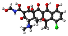 Ball-and-stick model of the clomocycline molecule