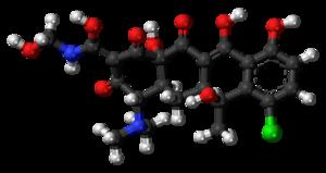 Clomocycline - Image: Clomocycline 3D ball