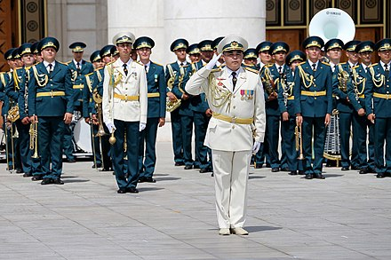 "The Central Military Band of the Ministry of Defense of Kazakhstan at the 2016 SCO Military Tattoo Closing ceremony of the international festival ""Trumpet of Peace 2016"" (Kazakhstan, Astana) 05.jpg"