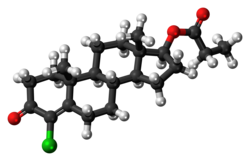 Clostebol propionate molecule ball.png