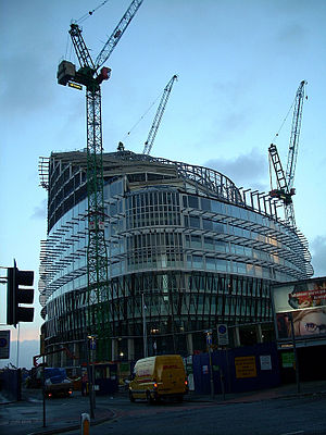 Double-skin facade - One Angel Square in Manchester. The use of a double skin is evident in construction.