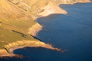 Raised beach - Aerial photograph of lowest marine terrace at Tongue Point, New Zealand
