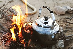 Coffee pot on open fire