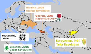 Colour revolution - Map of colour revolutions from 2000 to 2005.