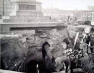 Columbus Circle - Subway construction under the Columbus monument in 1901