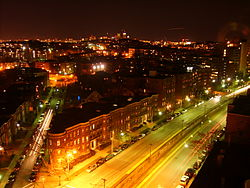 Comm Ave at South Street in Brighton at night.jpg