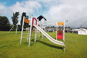 Tintwistle - The new play equipment installed on the Conduit Street Playing Fields in Tintwistle, High Peak, Derbyshire.