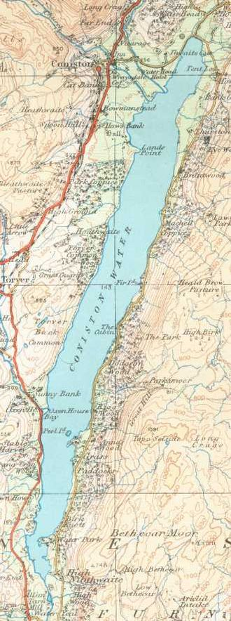Coniston Water - An Ordnance Survey map of Coniston Water from 1925