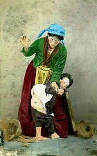 Spanking - Painting by Georg Conrad (1827–1889)