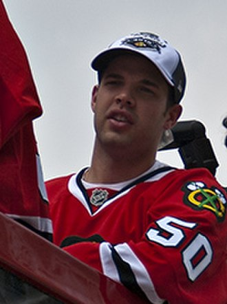 Corey Crawford - Corey Crawford during the Blackhawks Victory Parade in 2010