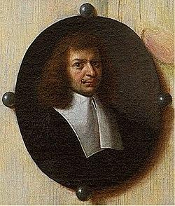 Cornelis Norbertus Gijsbrechts - Self-portrait, detail from 'A Cabinet in the Artist's Studio'.jpg