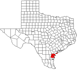 Corpus Christi metropolitan area - Map of Texas highlighting the Corpus Christi metropolitan area.