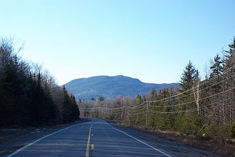 Maine State Route 27 - Cranberry Peak of Bigelow Mountain seen from SR 27 (and SR 16) facing northbound in Carrabassett Valley