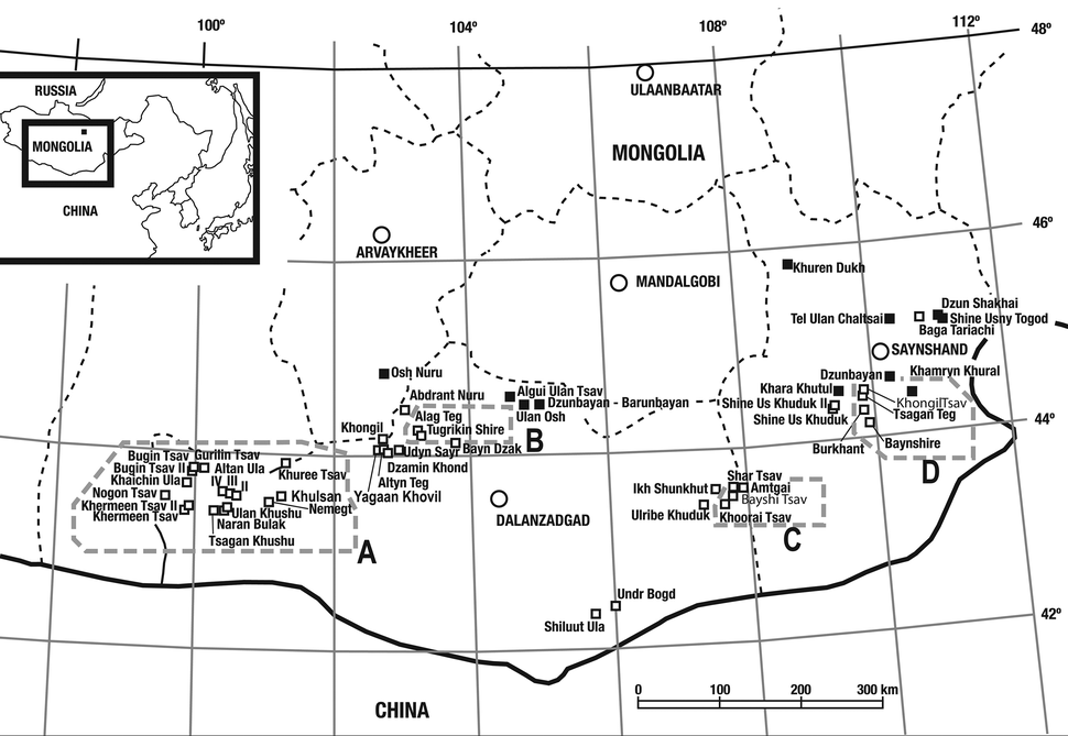 Cretaceous-aged dinosaur fossil localities of Mongolia