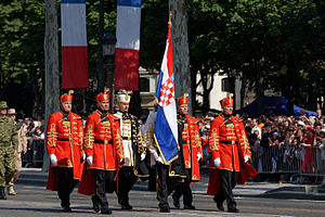 1st Croatian Guards Corps - Honour Guard Battalion troops wearing dress uniforms first used by the 1st Guards Honour Battalion