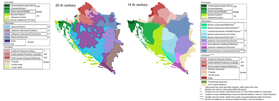 Croatian dialects difference between 14 and 20 century