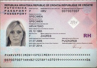 Croatian passport - The data page of a contemporary Croatian biometric passport
