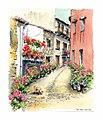 Croquis aquarellé- ruelle de Trancoso - Portugal (5643148764).jpg