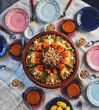 Couscous - Couscous served with vegetables and chickpeas