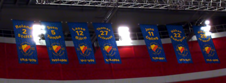 Djurgårdens IF Hockey - The seven (now eight) banners hanging at Ericsson Globe.