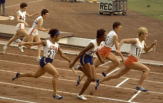 Athletics at the 1964 Summer Olympics – Women's 4 × 100 metres relay - Daphne Arden and Dorothy Hyman (UK), Willye White and Edith McGuire (USA), and Halina Górecka and Ewa Kłobukowska (Poland) compete in the final