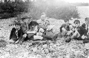 Low Coniscliffe - Scouts and Cubs picnicking possibly at Broken Scar ca.1920