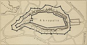 Pelasgic wall - Sketch of the course of the Pelasgic wall