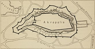 Pelasgic wall - Sketch of the course of the Pelasgic wall.