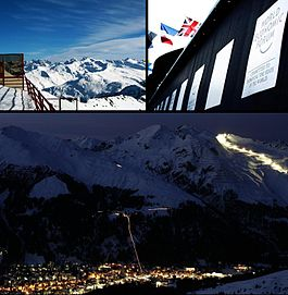 Top left: Weissfluhjoch, Top right: مجمع جهانی اقتصاد congress centre, Bottom: View over Davos and the Schatzalp and Parsenn (right) ski area by night