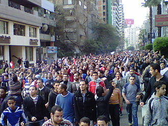 "Waithood - The ""Day of Revolt"" on 25 January 2011 in Cairo."