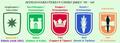 De 5 afdelingskentekens met hun namen Chiro jaren '50 - '60.png