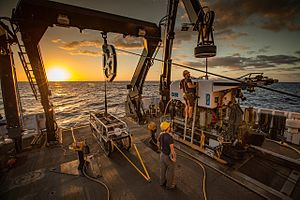 Office of Oceanic and Atmospheric Research - Remotely operated vehicle Deep Discoverer being prepared for deployment on the Okeanos aft deck. Image courtesy of NOAA's Office of Ocean Exploration and Research, 2016 Deepwater Exploration of the Marianas.