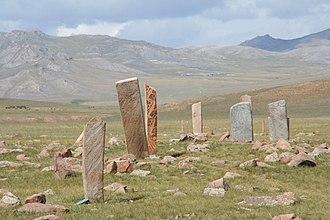 Deer stone - Deer stone site near Mörön in Mongolia.