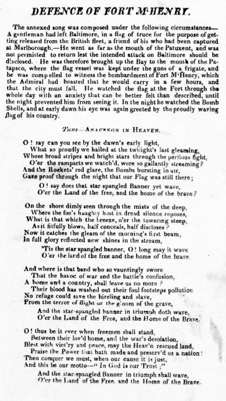 "One of two surviving copies of the 1814 broadside printing of the ""Defence of Fort M'Henry"", a poem that later became the lyrics of ""The Star-Spangled Banner"", the national anthem of the United States. Defence of Fort M'Henry broadside.jpg"