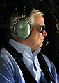 Defense.gov News Photo 100903-F-6655M-006 - Secretary of Defense Robert M. Gates gazes out the window as he flies from Kandahar Airfield Afghanistan to Camp Nathan Smith Afghanistan in a.jpg
