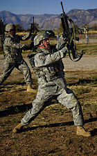 Defense.gov News Photo 101018-F-4908D-355 - U.S. Air Force Master Sgt. Doug Clayton with the 75th Security Forces Squadron practices rifle-fighting techniques during a combat readiness