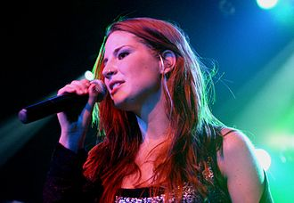 Delain - The vocalist, Charlotte Wessels, during a concert in 2006.