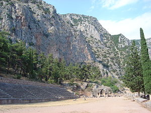 Pythian Games - View of the stadium of the Delphi sanctuary, used for the Pythian Games. The stone steps on the left were added under the Romans.