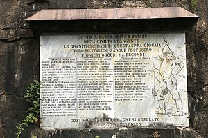 Simplon Tunnel - A monument in memory of the deceased workers of the Simplon Tunnel was erected next to the Iselle di Trasquera railway station on 29 May 1905