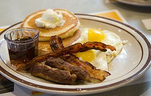 Pancakes, eggs, sausage, and bacon.