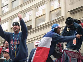 Derek Lowe - Derek Lowe (left) and Pedro Martínez at the Red Sox World Series Victory Parade in 2004.