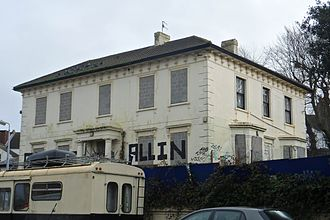 Elm Grove, Brighton - The area's earliest houses were detached villas on Wellington Road.  Number 18, derelict in 2014, is the only survivor.