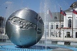 Detail of sculpture of Fountain of peace in Bratislava, Bratislava I District.jpg