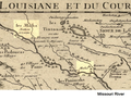 Detail of the 1718 De L'isle map. Location of Maha (the Omaha Indians) and Les Maha Nation errente.png