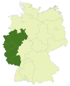 Regionalliga West/Südwest - Map of Germany: Position of the Regionalliga West/Südwest highlighted