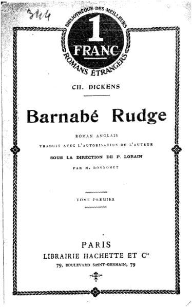 File:Dickens - Barnabé Rudge, tome 1, Hachette, 1911.djvu