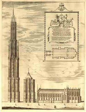 Sint-Lievensmonstertoren - 1657 drawing of the St.-Lievensmonstertoren; planned version on the left, actual tower in the middle, and the accompanying church (burned down in 1832) on the right, with the plan at the top right
