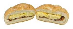 Breakfast sandwich - Image: Diner Bacon & Egg Sandwich On Roll