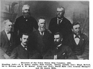Union Company - Five directors (back) of the Union Steam Ship Company in 1881, including John Richard Jones, John Cargill, and George McLean; David and James Mills in the foreground