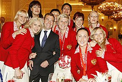 Dmitry Medvedev with the Russian women's handball team, winners of a silver medal at the 2008 Olympic games.jpg